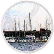Docked Boats Norfolk Va Round Beach Towel