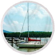 Round Beach Towel featuring the photograph Docked On The Hudson River by Susan Savad