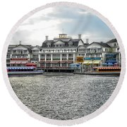 Docking At The Boardwalk Walt Disney World Round Beach Towel