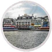 Docking At The Boardwalk Walt Disney World Round Beach Towel by Thomas Woolworth