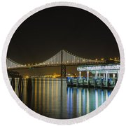 Docks And Bay Lights Round Beach Towel