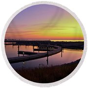 Docks At Sunrise Round Beach Towel by Jonah  Anderson
