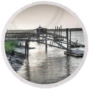 Docks Of The Bull River Round Beach Towel