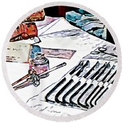 Round Beach Towel featuring the photograph Doctor - Medical Instruments by Susan Savad