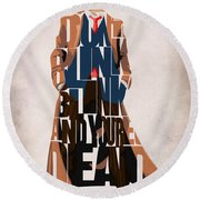 Doctor Who Inspired Tenth Doctor's Typographic Artwork Round Beach Towel by Ayse Deniz