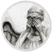 Doctor Who Weeping Angel Don't Blink Round Beach Towel