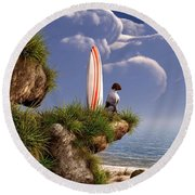 Dog And Surfboard Round Beach Towel