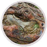 Round Beach Towel featuring the photograph Dog Bone In The Bark by Gary Slawsky
