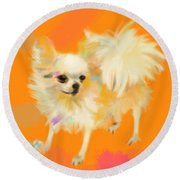 Dog Chihuahua Orange Round Beach Towel