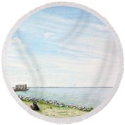 Dog Days On Obx Round Beach Towel