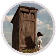 Dog Guarding An Outhouse Round Beach Towel
