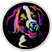 Dog Iggy Color Me Bright Round Beach Towel
