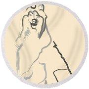 Dog - Lassie Round Beach Towel
