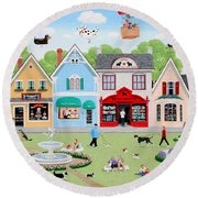 Dog Lovers' Lane Round Beach Towel