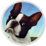 Dog-nature 4 Round Beach Towel by James W Johnson