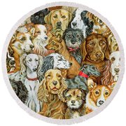 Dog Spread Round Beach Towel