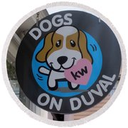 Round Beach Towel featuring the photograph Dogs On Duval by Fiona Kennard