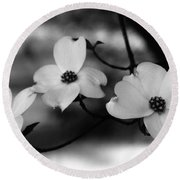 Dogwood Black And White Round Beach Towel