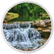 Dogwood Canyon Falls Round Beach Towel by Elizabeth Winter