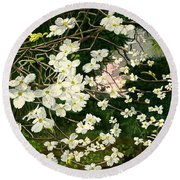 Round Beach Towel featuring the painting Dogwoods Virginia by Melly Terpening