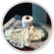 Doily And Crochet Thread Round Beach Towel