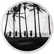 Doing The Hula At Sunset Round Beach Towel
