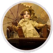 Antique Doll In Chair With Parasol Round Beach Towel