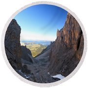 Round Beach Towel featuring the photograph Dolomites At Morning by Antonio Scarpi