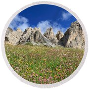 Round Beach Towel featuring the photograph Dolomiti - Flowered Meadow  by Antonio Scarpi