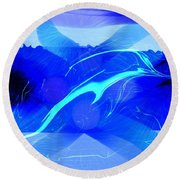Dolphin Abstract - 1 Round Beach Towel by Kae Cheatham