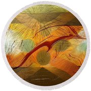 Round Beach Towel featuring the digital art Dolphin Abstract - 2 by Kae Cheatham