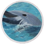 Dolphin At Play Round Beach Towel