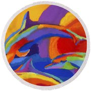 Dolphin Dance Round Beach Towel by Stephen Anderson