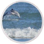 Dolphin In Surf Round Beach Towel