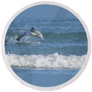 Dolphin In Surf Round Beach Towel