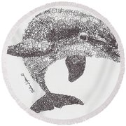 Dolphin Round Beach Towel by Michael Volpicelli