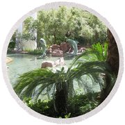 Dolphin Pond And Garden Green Round Beach Towel by Navin Joshi
