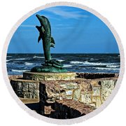 Dolphin Statue Round Beach Towel by Judy Vincent