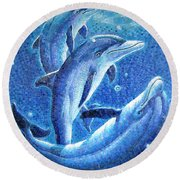 Dolphin Trio Round Beach Towel