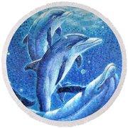 Dolphin Trio Round Beach Towel