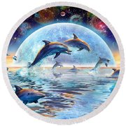 Dolphins By Moonlight Round Beach Towel