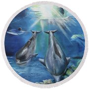 Round Beach Towel featuring the painting Dolphins Playing by Thomas J Herring