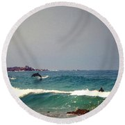Dolphins Swimming With The Surfers At Asilomar State Beach  Round Beach Towel