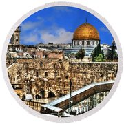 Round Beach Towel featuring the photograph Dome Of The Rock by Doc Braham