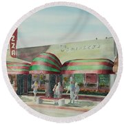 Domenicos In Long Beach Round Beach Towel