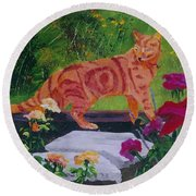 Domestic Tiger Round Beach Towel