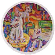 Round Beach Towel featuring the painting Domesticated Wolves In Dutch Iris Room by Dianne  Connolly