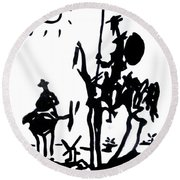Round Beach Towel featuring the painting Don Quixote by Michelle Dallocchio