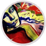 Round Beach Towel featuring the painting Don T Look Back by Helena Wierzbicki