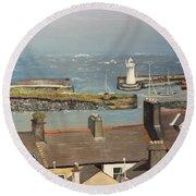 Round Beach Towel featuring the painting Donaghadee Ireland Irish Sea by Brenda Brown